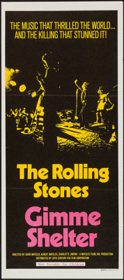 "Gimme Shelter (20th Century Fox, 1970). Australian Daybill (13.5"" X 30""). Rock and Roll"