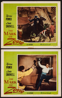 """The Mark of Zorro (20th Century Fox, R-1958). Lobby Cards (2) (11"""" X 14""""). Swashbuckler. ... (Total: 2 Items)"""