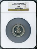 Expositions and Fairs, 1893 World's Columbian Exposition, Admission Pass, Columbus, MS62 NGC. Eglit-40b. White metal, 51 mm. The actual ticket ...
