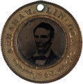 Political:Ferrotypes / Photo Badges (pre-1896), Abraham Lincoln: Back-to-Back Ferrotype Badge....