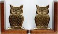 Books:Furniture & Accessories, [Bookends]. Matching Pair of Brass Owl Bookends on Wooden Bases .Bright brass owls mounted to the wood bases which show som...(Total: 2 Items)