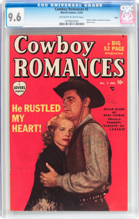 Cowboy Romances #2 Ohio pedigree (Marvel, 1949) CGC NM+ 9.6 Off-white to white pages