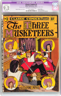 Classic Comics #1 Three Musketeers - Original Edition (Elliott Publishing, 1941) CGC Apparent NM- 9.2 Slight (P) Off-whi...