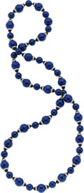 Estate Jewelry:Necklaces, Eli Frei Lapis Lazuli, Black Onyx, Diamond, White Gold Necklace....