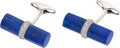 Estate Jewelry:Cufflinks, Eli Frei Lapis Lazuli, Diamond, White Gold Cuff Links. ...