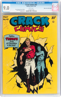 Crack Comics #42 Mile High pedigree (Quality, 1946) CGC VF/NM 9.0 White pages