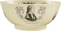 Political:3D & Other Display (pre-1896), George Washington and Benjamin Franklin: A Superb Large-sizeLiverpool Creamware Punch Bowl. ...