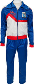 "Hockey Collectibles:Uniforms, 1980 Mark Pavelich ""Miracle on Ice"" USA Olympic Hockey Team Warm-UpSuit...."
