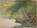 Fine Art - Painting, American:Antique  (Pre 1900), FRANK HECTOR TOMPKINS (American, 1847-1922). Docked Along theShore, 1896. Oil on canvas. 9-5/8 x 12-5/8 inches (24.4 x ...