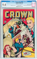 Golden Age (1938-1955):Miscellaneous, Crown Comics #4 Mile High pedigree (Golfing, Inc., 1945) CGC NM 9.4 Off-white to white pages....