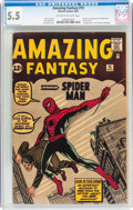 Silver Age (1956-1969):Superhero, Amazing Fantasy #15 (Marvel, 1962) CGC FN- 5.5 Off-white to white pages....