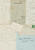 Autographs:Celebrities, Miscellaneous/Unidentifiable. Group of Autograph and Typed LettersSigned. Includes Charles Pitt, Hannah Gowdy, Mary Mellish...