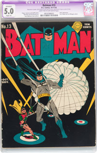Batman #13 (DC, 1942) CGC Apparent VG/FN 5.0 Slight (A) Light tan to off-white pages