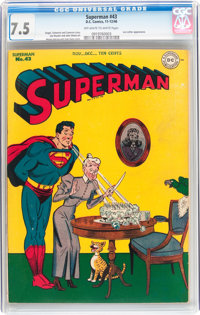 Superman #43 (DC, 1946) CGC VF- 7.5 Off-white to white pages