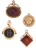 Estate Jewelry:Cameos, Hardstone, Gold Watch Fobs . ... (Total: 4 Items)