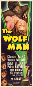 "Movie Posters:Horror, The Wolf Man (Universal, 1941). Insert (14"" X 36"").. ..."