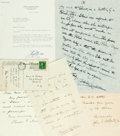 Autographs:Authors, American Authors. Group of Autograph and Typed Letters Signed. Includes Archibald Henderson, Charles Z. Lincoln, Joseph L. M...