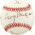 Autographs:Baseballs, Basketball Hall of Famers Multi-Signed Baseball. This uniquecrossover memento place the signatures of four members of the ...