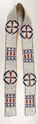 A SIOUX BEADED HIDE BLANKET STRIP c. 1890