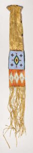 American Indian Art:Beadwork, A SIOUX BEADED HIDE TOBACCO BAG. . c. 1870. ...
