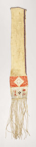 American Indian Art:Beadwork, A SIOUX QUILLED AND BEADED HIDE TOBACCO BAG. . c. 1865. ...