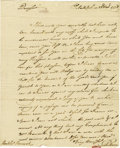 "Autographs:Statesmen, Silas Deane Autograph Letter Signed ""Silas Deane,"" one page,7.25"" x9"". Philadelphia, November 23, 1778. Integral leaf a..."