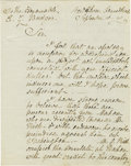 """Autographs:Military Figures, Isaac Hull Manuscript Letter Signed """"Isaac Hull,"""" two pages, separate conjoined leaves, 7.75"""" x 10"""". New Haven, Connecti... (Total: 1 Item)"""