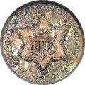 Three Cent Silver, 1855 3CS MS66 NGC. CAC....