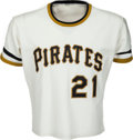 Baseball Collectibles:Uniforms, 1971-72 Roberto Clemente Game Worn Pittsburgh Pirates Jersey, MEARS A8.5....