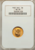 Russia, Russia: Nicholas II gold 5 Roubles 1902 MS66 NGC,...