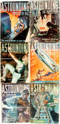 Books:Pulps, [Pulps]. Six Issues of Astounding Science Fiction.1938-1939. Publisher's printed wrappers. Dampstaining, toningand... (Total: 6 Items)