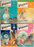 Books:Pulps, [Pulps]. Four Issues of Science Wonder Stories. 1930.Publisher's printed wrappers. Toning and edgewear, with some s...(Total: 4 Items)