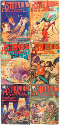 [Pulps]. Six Issues of Astounding Stories. 1930. Publisher's printed wrappers. Toning and edgew