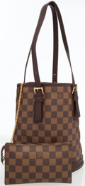Luxury Accessories:Bags, Louis Vuitton Damier Ebene Canvas Marais Bucket Bag with CosmeticPouch. ...