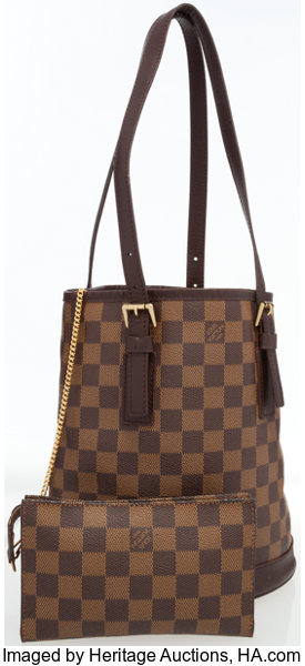 6ff80076f9fd Louis Vuitton Damier Ebene Canvas Marais Bucket Bag with