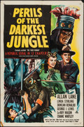 "Movie Posters:Serial, The Tiger Woman (Republic, R-1951). One Sheet (27"" X 41"") Reissue Title: Perils of the Darkest Jungle. Serial.. ..."