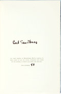 Books:Literature 1900-up, Carl Sandburg. SIGNED/LIMITED. Remembrance Rock. New York:Harcourt, Brace, [1948]. First edition, limited to 1,000 ...(Total: 2 Items)