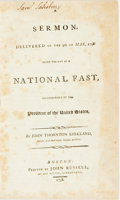 Books:Americana & American History, John Thornton Kirkland. A Sermon, Delivered on the 9th of May,1798. Being the Day of a National Fast, Recommended by th...