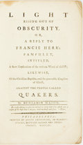Books:Americana & American History, Benjamin Mason. Light Rising Out of Obscurity, or, A Reply toFrancis Herr's Pamphlet Intitled, A Short Explication of t...