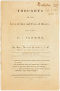 Books:Americana & American History, Rev. David Barnes. SIGNED. Thoughts on the Love of Live and Fearof Death: Delivered in a Sermon. Boston: Samuel...