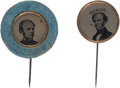 Political:Ferrotypes / Photo Badges (pre-1896), Horatio Seymour: Pair of Ferrotype Stickpins.... (Total: 2 Items)