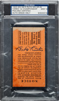 Autographs:Others, 1923 World Series Game Six Ticket Stub Signed by Babe Ruth, PSA/DNA Mint 9....