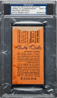 1923 World Series Game Six Ticket Stub Signed by Babe Ruth, PSA/DNA Mint 9