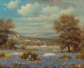 Texas:Early Texas Art - Regionalists, WILLIAM ROBERT THRASHER (American, 1908-1997). Bluebonnets UnderCloudy Skies. Oil on canvas. 16 x 20 inches (40.6 x 50....