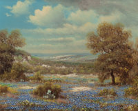 WILLIAM ROBERT THRASHER (American, 1908-1997) Bluebonnets Under Cloudy Skies Oil on canvas 16 x 2