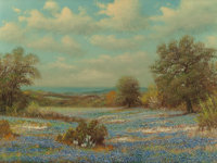 WILLIAM ROBERT THRASHER (American, 1908-1997) Bluebonnets and Dandelions Oil on canvas 18 x 24 in