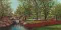 Texas:Early Texas Art - Regionalists, WILLIAM ROBERT THRASHER (American, 1908-1997). Turtle Creek inthe Spring. Oil on canvas. 24 x 48 inches (61.0 x 121.9 c...
