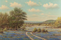 Texas:Early Texas Art - Regionalists, WILLIAM ROBERT THRASHER (American, 1908-1997). Country Road withBluebonnets. Oil on canvas. 24 x 36 inches (61.0 x 91.4...