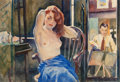 Pin-up and Glamour Art, JOHN LAVALLE (American, 1896-1971). Artist and Model, 1929.Watercolor on paper. 13.25 x 19.5 in. (sight). Signed and da...