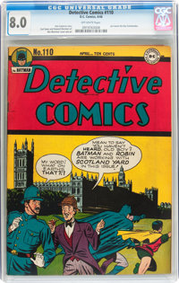 Detective Comics #110 (DC, 1946) CGC VF 8.0 Off-white pages